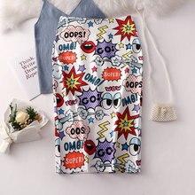 2019 Fashion Summer Women Pencil Skirt High Stretch Cartoon Doodle Letter Printed Midi Slip Hip Skirt Female
