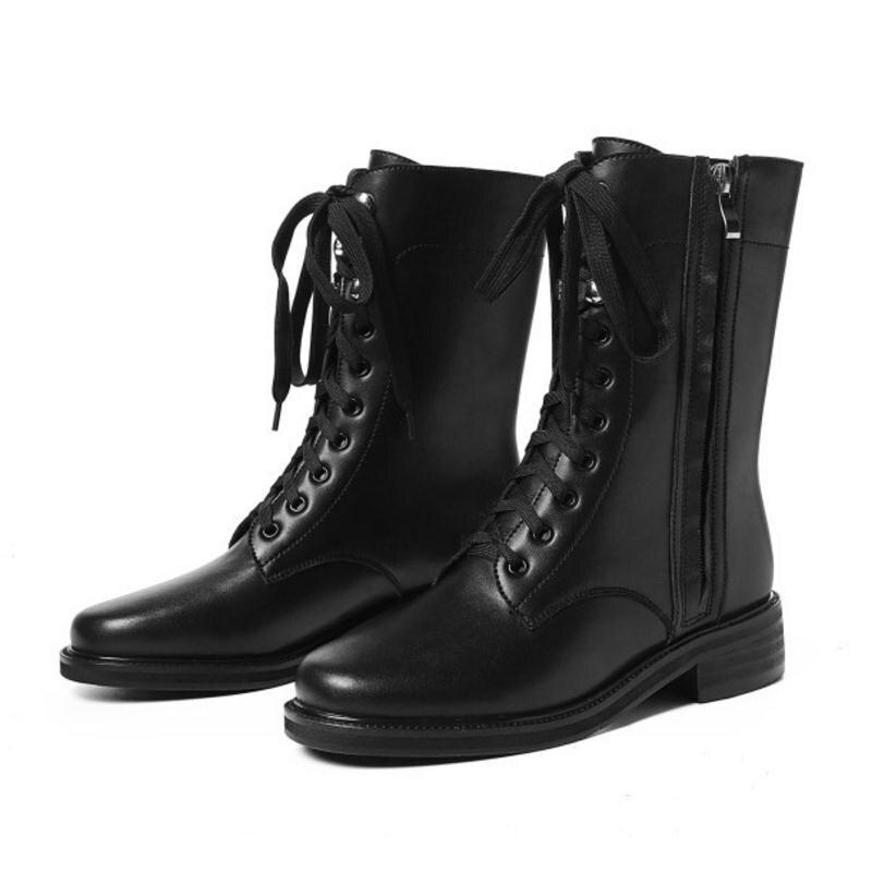 1 Taglia 34 Genuino Lace Del black Delle Up Scarpe Caviglia Di Punk 40 Black Cuoio Lusso Della Zipper Inverno Moda Stivali Appartamenti Donne 2 Donna Fizaizifai gR7Hn