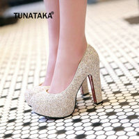 Women Platform Chunky High Heel Pumps Party Wedding Bride Shoes Gold Silver White