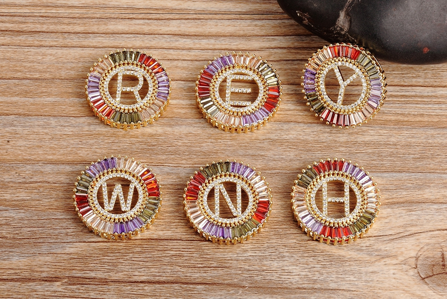 New Arrival Gold Color Micro Pave Rainbow CZ Cubic Zirconia A-Z Initials Letter Pendant Necklaces For Women Girls Fine Jewelry 9