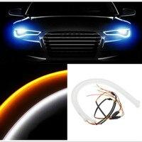 2pcs 60cm DRL DIY White Amber Flexible LED Tube Strip Turn Signal Light Tube Angel Eye