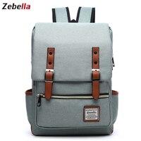 Zebella 15''Women Canvas Backpack Laptop Backbag School Bags For Teenager Travel Rucksack Daypack for Working mochila feminina