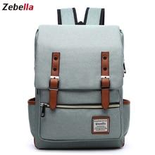 Zebella 15''Women Canvas Backpack Laptop Backbag School Bags For Teenager Travel Rucksack Daypack for Working mochila feminina цены