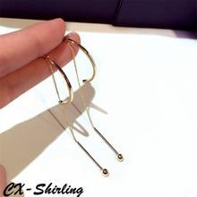 CX-Shirling S925 Silver Needle Earrings Gold&Silver Female Dress Earring Double Wear Long Metal Tassel