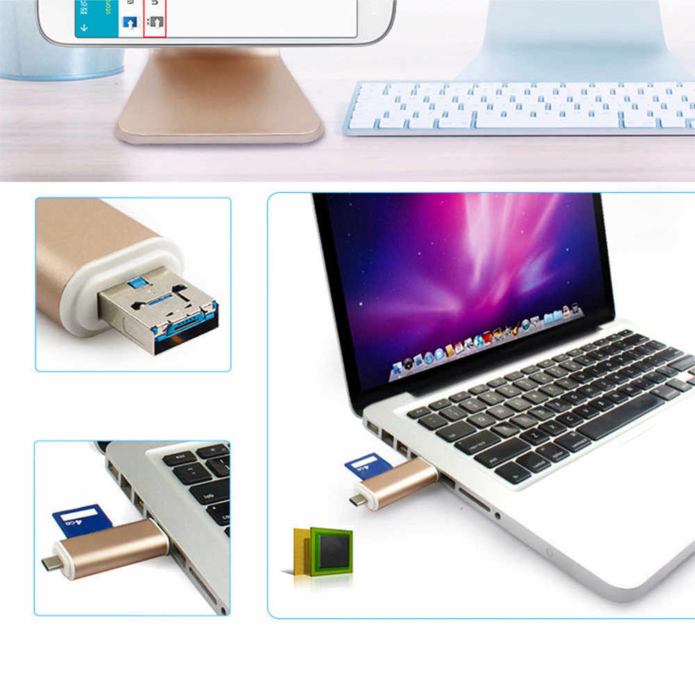 Ype C & micro USB & USB 3 In 1 OTG Kaartlezer High-speed USB 2.0 3.0 Universele OTG TF/SD voor Android Computer Uitbreiding Headers