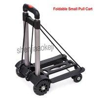 Aluminum Alloy Foldable 4 Wheels Mini Travel cart Trolley Cart Household Fold Shopping Cart Small Pull Cart 1pc