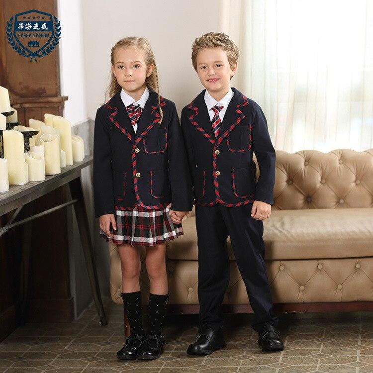 Uniformes scolaires pour enfants costumes garçons et filles uniformes scolaires chandail Top veste classe d'étudiant porter des vêtements de pépinière D-0510