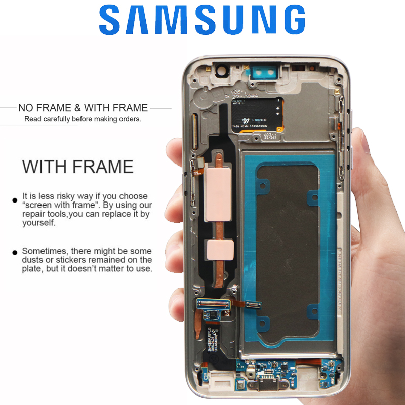 ORIGINAL 5.1'' SUPER AMOLED LCD with Frame for SAMSUNG Galaxy S7 Flat Display G930 G930F Touch Screen Digitizer