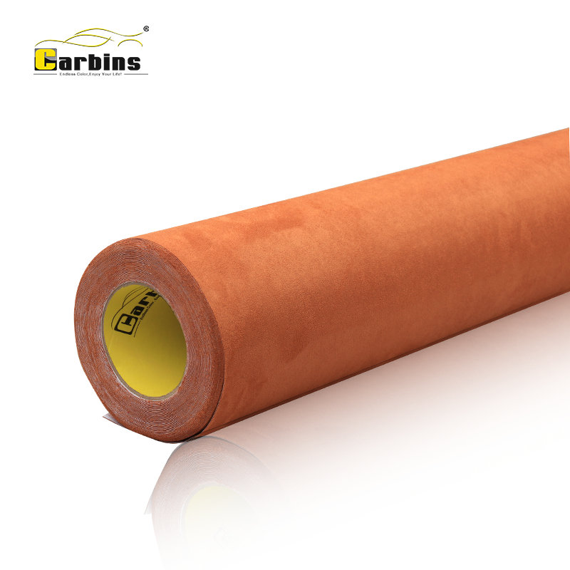 Carbins self adhesive big pile suede fabric vinyl for car wrap brown color roof fabric