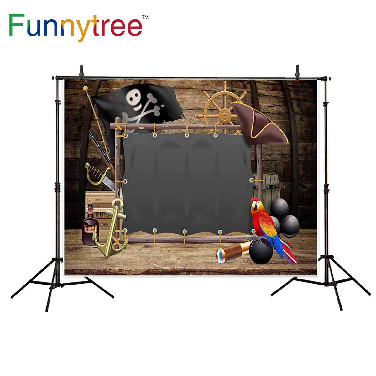 Funnytree photography backdrops pirate sailling parrot birthday party wood cartoon kids background photobooth photocall cartoon wood
