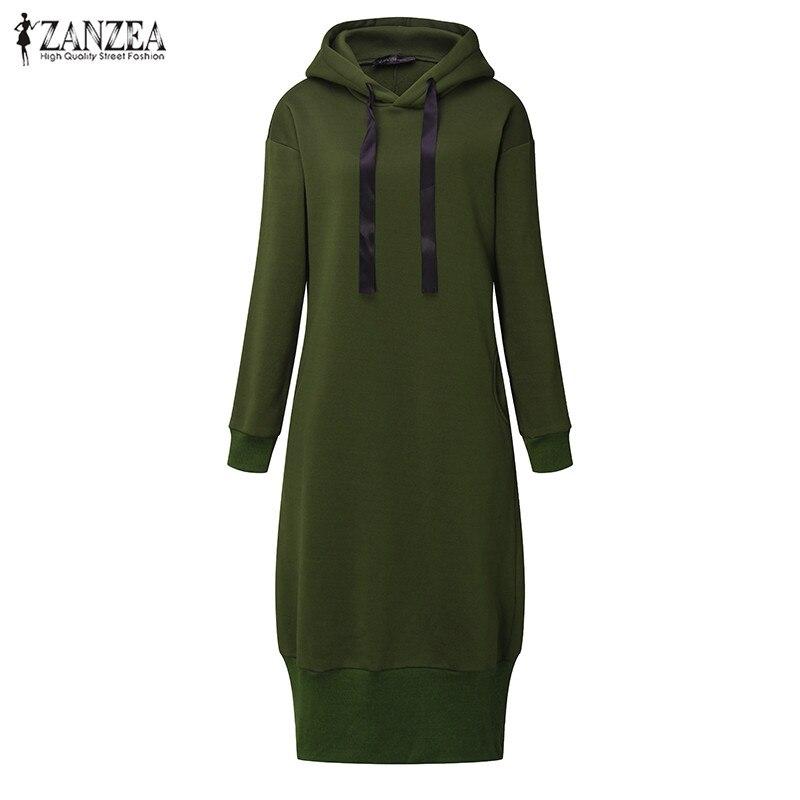 Plus Size 2018 ZANZEA Hooded Long Sleeve Fleece Split Long Sweatshirt Dress Winter Women Casual Loose Hoodies Pullover Vestido