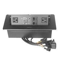 Desktop Socket VGA Audio HDMI USB Network Interface Cable Universal Plug Conference Room POP UP Table Socket Zinc Alloy Panel