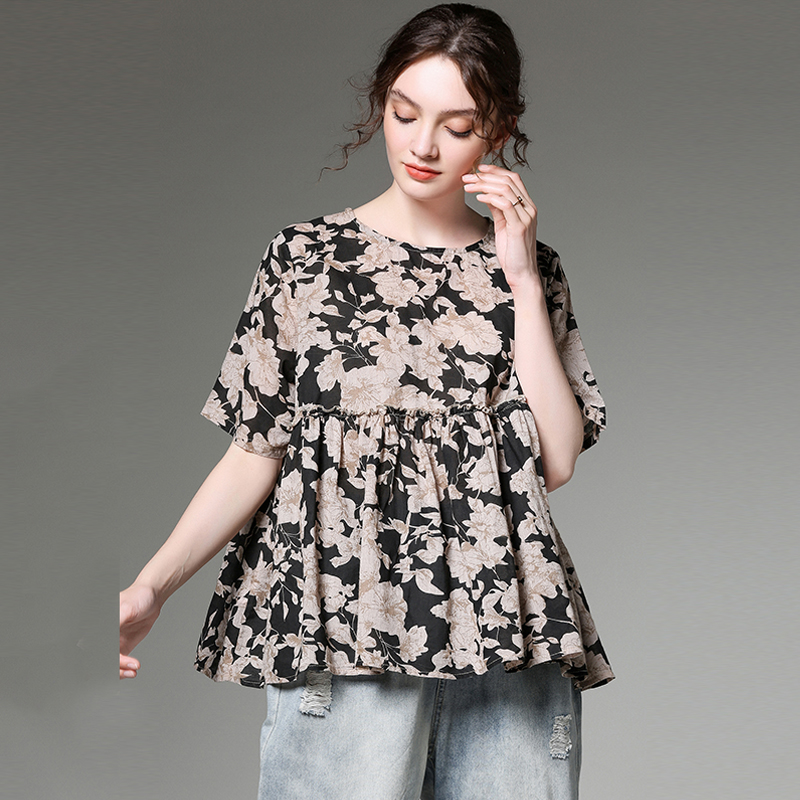 Summer Tops T-shirts plus size 2019 women flower print casual loose cotton linen oversized top tees short sleeve extra large top image