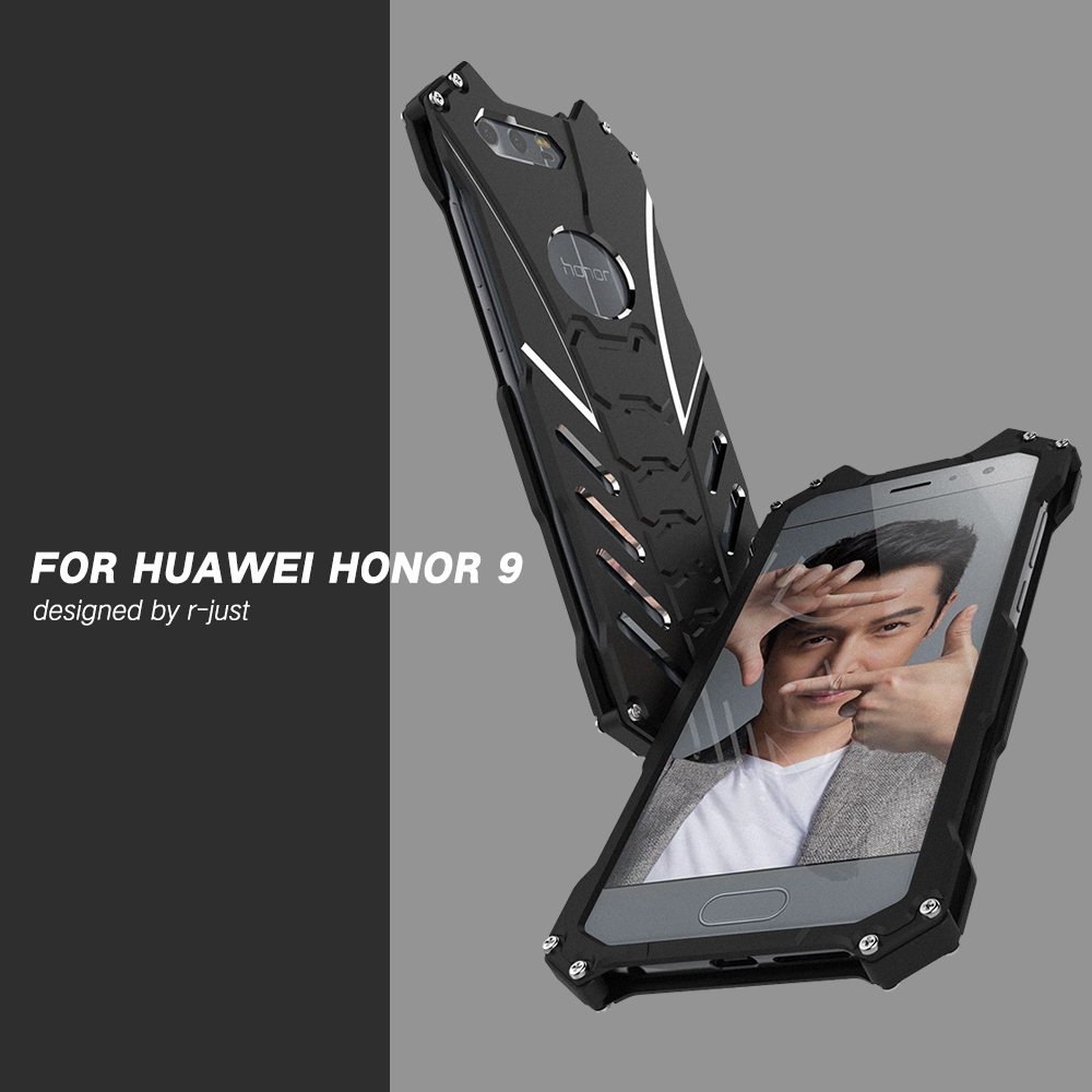 For Huawei Honor9 V8 V9 Case Armor Heavy Dust Metal Aluminum BATMAN Protect Skeleton Head Phone Shell Case Cover lanyard bracket