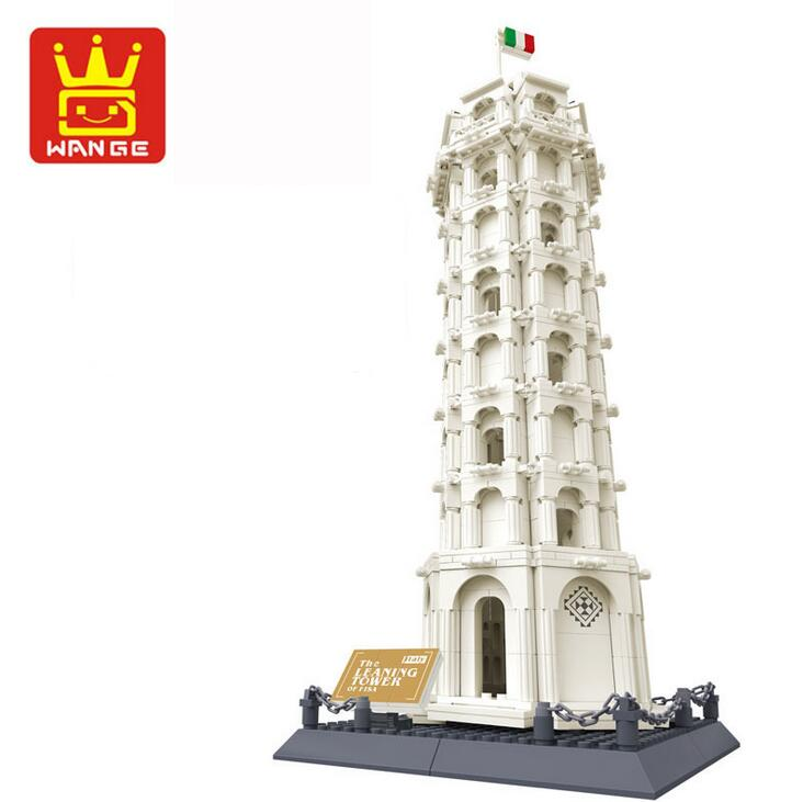 Wange 8012 Pisa Leaning Tower Building Block Structure Building Blocks Kids Educational Toy Wange Block Gift Toys For Children 81pcs set assemblled gear block montessori educational toy plastic building blocks toy for children fun block board game toy
