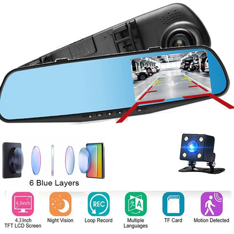 <font><b>2019</b></font> New 1080P Dual Lens Car DVR Night Vision Camera Rearview Registrator <font><b>Mirror</b></font> Digital Video Recorder Auto Camcorder <font><b>Dash</b></font> <font><b>Cam</b></font> image