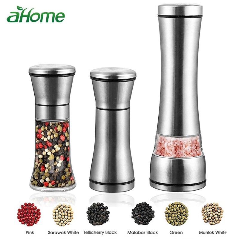 Manual De Aço inoxidável Sal e Pimenta Shakers salsa Erva moedor do moinho Moinho de pimenta com Moedor de Cerâmica Ajustável