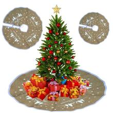 1pc Linen Snowflake Christmas Tree Skirt Christmas Decorations for Home Xmas Tree Skirt Event Party Supplies #45