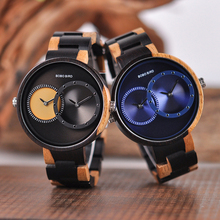 Reloj Masculino BOBO pájaro de lujo relojes 2 zona horaria reloj de madera hombres señoras colorida banda reloj accesorios U R10