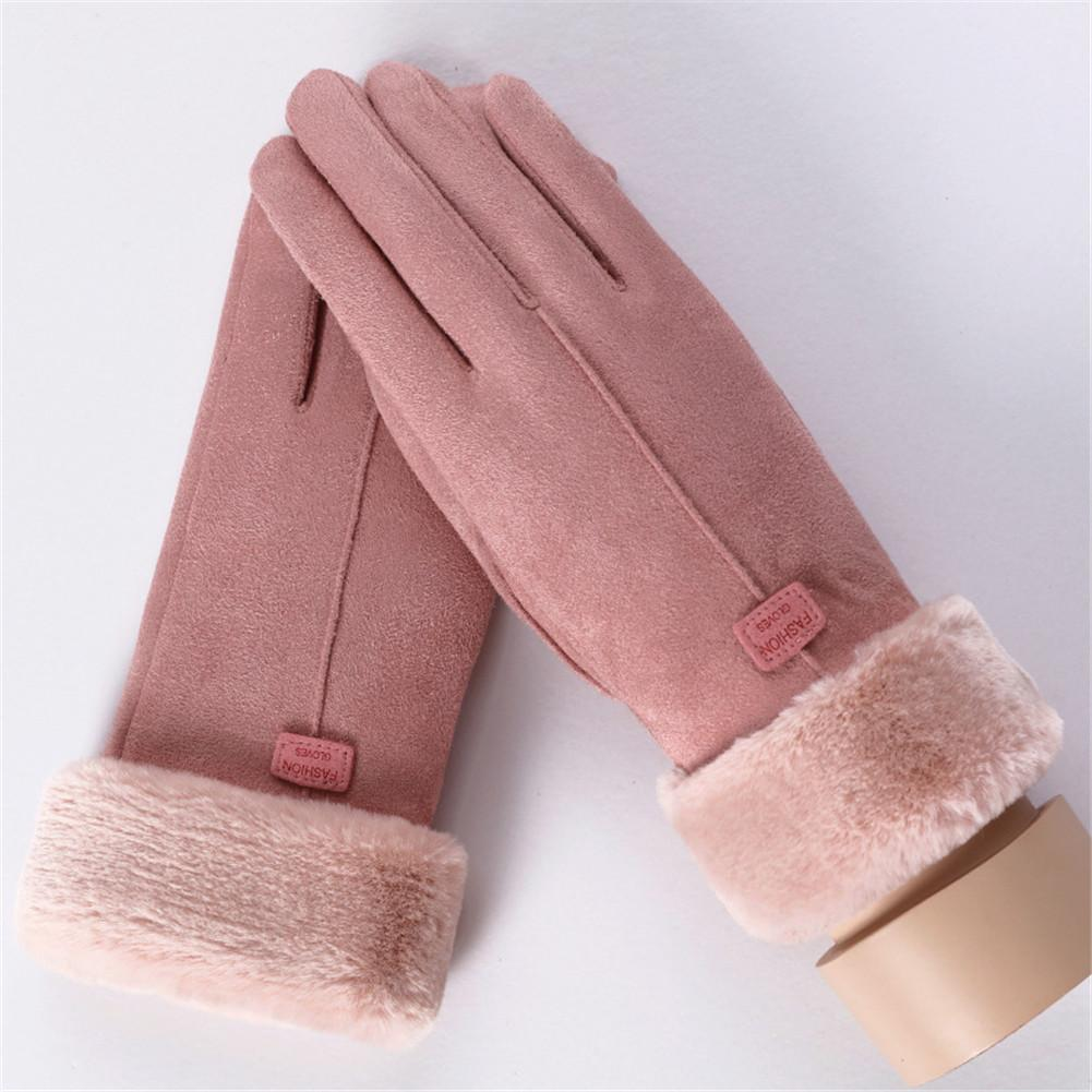 Women's Thickened Warm Keeping Touch Screen Gloves Winter Fashionable Suede Fabric Coral Velvet Brushed Mittens