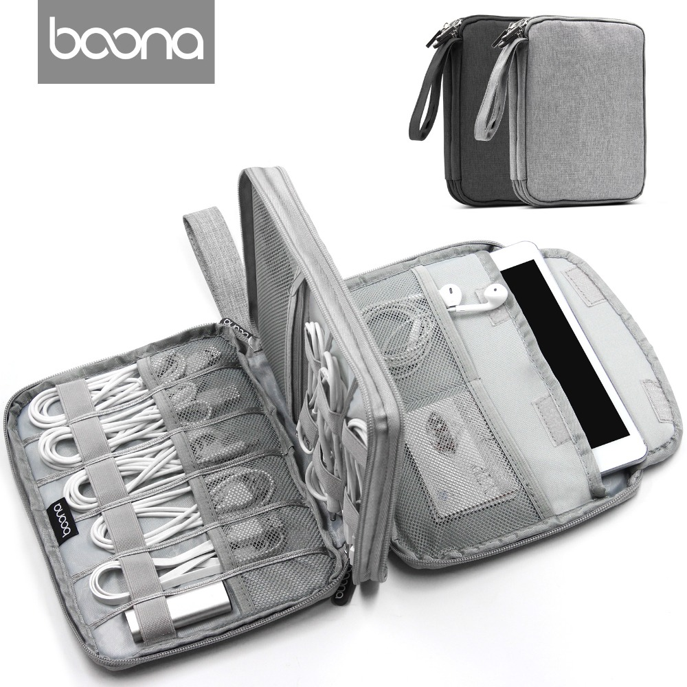 Boona Canvas  Phone Organizer USB Data Cable Earphone Wire Pen Power Bank Travel Storage Bag Kit Case Digital Gadget Devices
