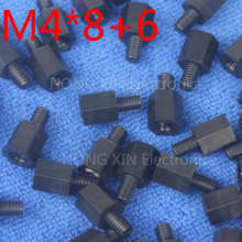 M4*8+6 Black 100pcs Nylon Standoff Spacer Standard M4 Plastic Male-Female 8mm Kit Repair Set High Quality