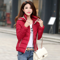 2019 Korean version Large size New winter Hooded coat women Loose Casual Solid color Long sleeve Down Cotton Coat cc37