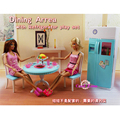Miniature Furniture Dining Area for Barbie Doll House Pretend Play Toys for Girl Free Shipping