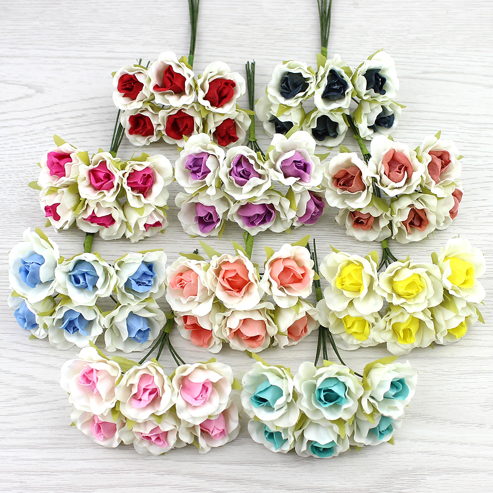 2cm mini rose artificial flower bouquet silk flowers for for Fake flowers for crafts