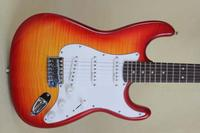 Wholesale Cherry burst color slim basswood body electric guitar,flame maple neck,free shipping hot selling guitars