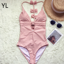 Net red custom-made naked powder new sexy back bow tie multi-belt deep V hot spring swimsuit female One Piece Swimwear suit