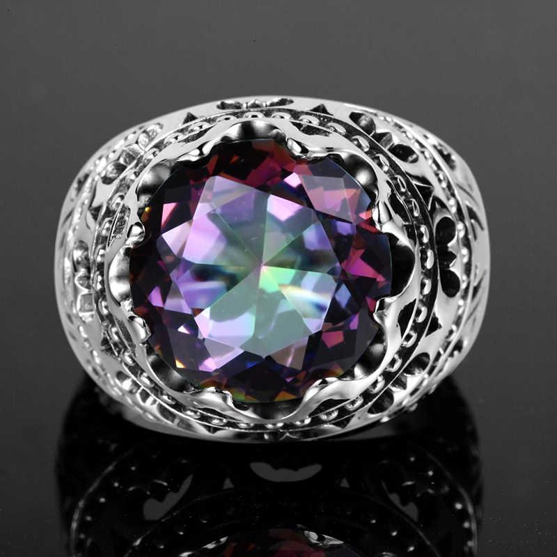 Szjinao venta Vintage joyería Topaz cubot Rainbow de cristal de Plata de Ley 925 gran anillos para los hombres y las mujeres regalos