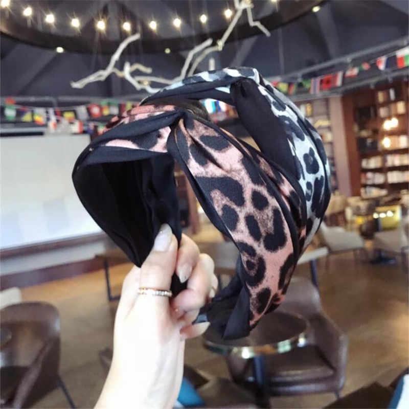 Корейский Бутик Hairband Ткань леопарда крест ободок Девушки Женщины обруч для волос ленты аксессуары для женщин резинки для волос