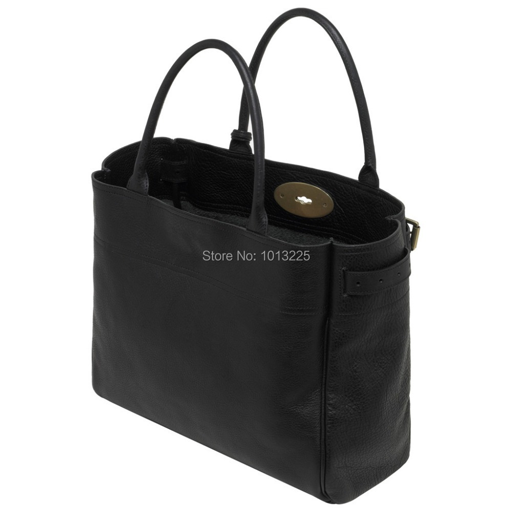 e25195595b Free Shipping Mulberryzar Bayswater Tote Bag Black Natural Leather Oak Hot  Pink Party handbag Women Business Bags-in Top-Handle Bags from Luggage    Bags on ...