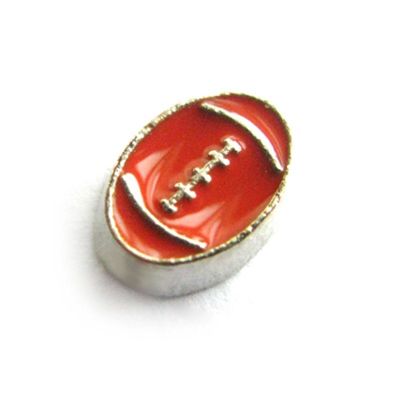 20 Pcs Enamel American Football Charms Alloy I Love Football Locket Charms For Living Memory Locket