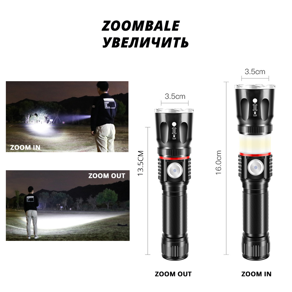 USB Charging High end LED Flashlight Surrounding COB lamp Tail magnet design Support zoom 4 lighting modes Waterproof Torch in LED Flashlights from Lights Lighting