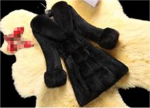 2017 autumn and winter new female long coat fox fur collar collar fox fur jacket fashion high-end black / white / wine red