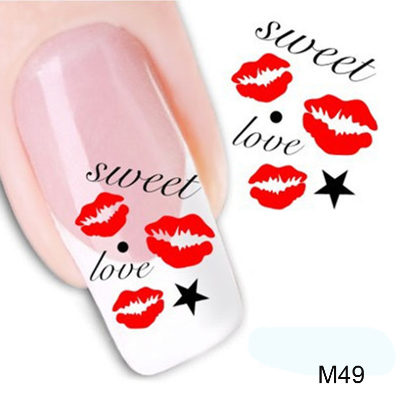 1pcs Nail Stickers Water Transfer Sticker Nail Art 3D Design Kiss ...