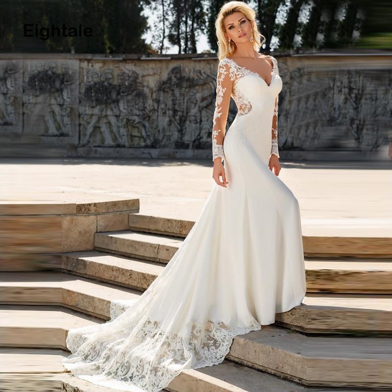 Eightale Mermaid Boho Wedding Dresses Long Sleeves Appliques Vestidos De Novia Lace Backless Bridal Dress Wedding Gowns 2019