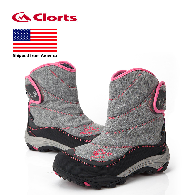 Shipped From USA Clorts Women Snow Boots Warm Outdoor Hiking Boots Waterproof Hiking Shoes SNBT-203 yin qi shi man winter outdoor shoes hiking camping trip high top hiking boots cow leather durable female plush warm outdoor boot