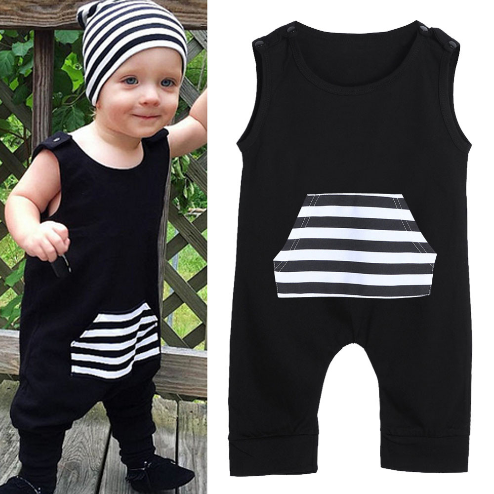 2017 Hot Sale Baby Rompers Infant Patchwork Clothing Kids Striped Pocket Sleeveless Jumpsuit Boys Girls Romper