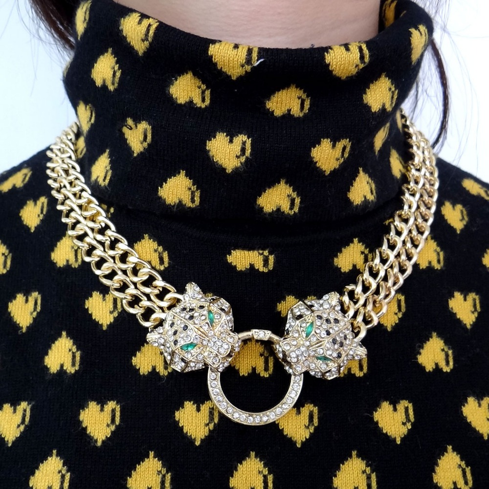 Bella Fashion Duel Panther Leopard Choker Necklace Austrian Crystal Rhinestone Animal Necklace For Women Party Jewelry Gift graceful rhinestone necklace for women