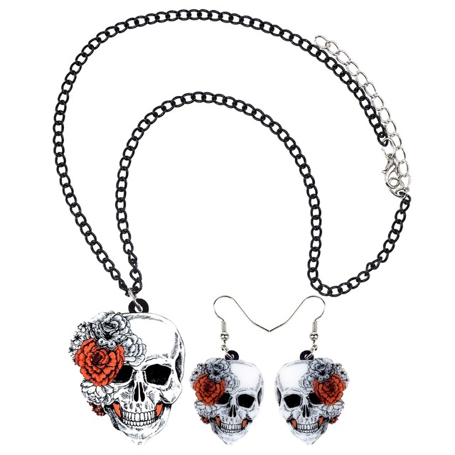 Bonsny Statement Acrylic Halloween Rose Flower Skull Earrings Necklace Chain Jewelry Sets Retro Costumes Decoration For Women 2