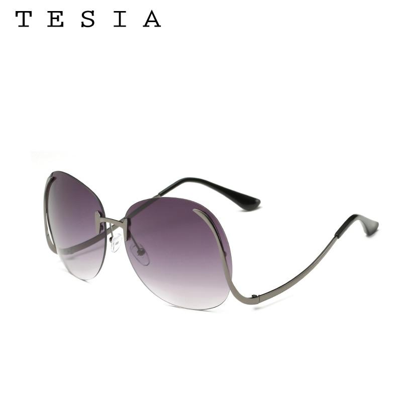 2017 TESIA Kacamata Fashion Wanita Oversize Sunglasses Mental Bingkai - Aksesori pakaian - Foto 6
