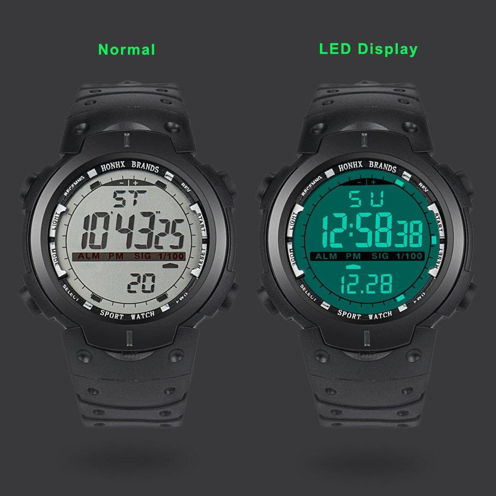 Digital Watch Men Women Relogio Sport Fashion Men LED Digital Date Military Sport Rubber Quartz Watch Alarm Waterproof