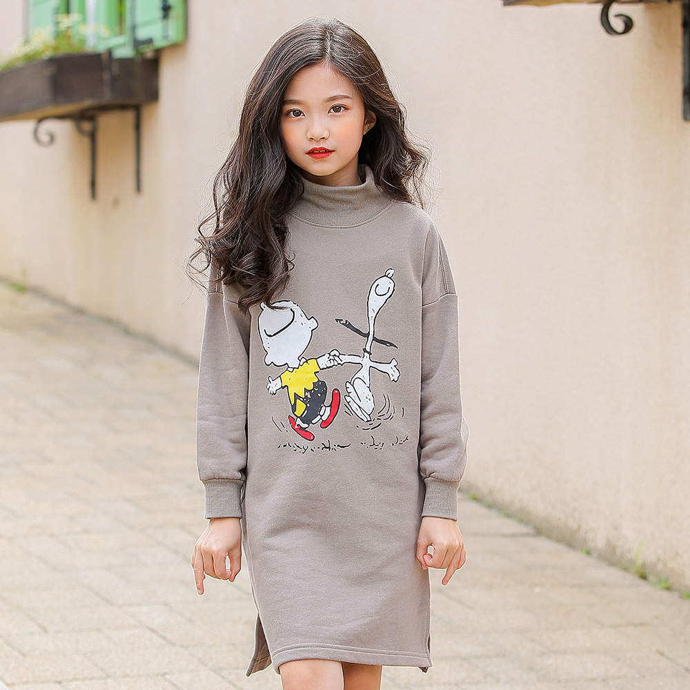 3-16Y Girls Knitted Dresses Long Sleeve Cartoon Pullover Dress Child Cotton Kids Teens Dress Winter Autumn Casual Clothes CA219 autumn winter kids girls knitted dress with bows long sleeve kids princess dresses for girls cotton sweater dress