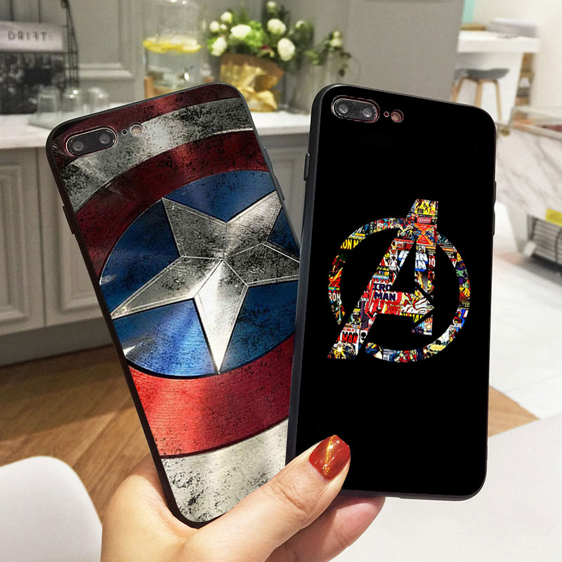 Marvel Avengers Captain America Shield Case for iPhone X 5 S 5S XR XS Max 6 6S 7 8 Plus Case Soft Silicone Phone Fundas Coque чехлы марвел
