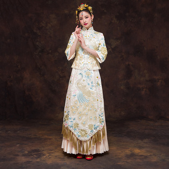 Champagne Novelty Chinese Bride Dress Vintage Women Peacock Embroidery Cheongsam Suit Elegant Long Qipao Toast Clothing S-XXL