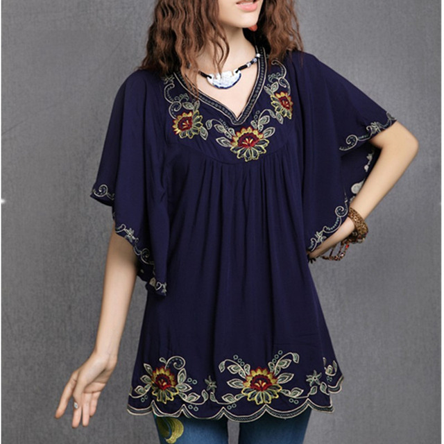 23375ef651943 Maternity Blouse Floral Embroidered Vintage Summer Blouses Shirt For  Pregnant Women Pregnancy Clothes Casual Gravida Shirts