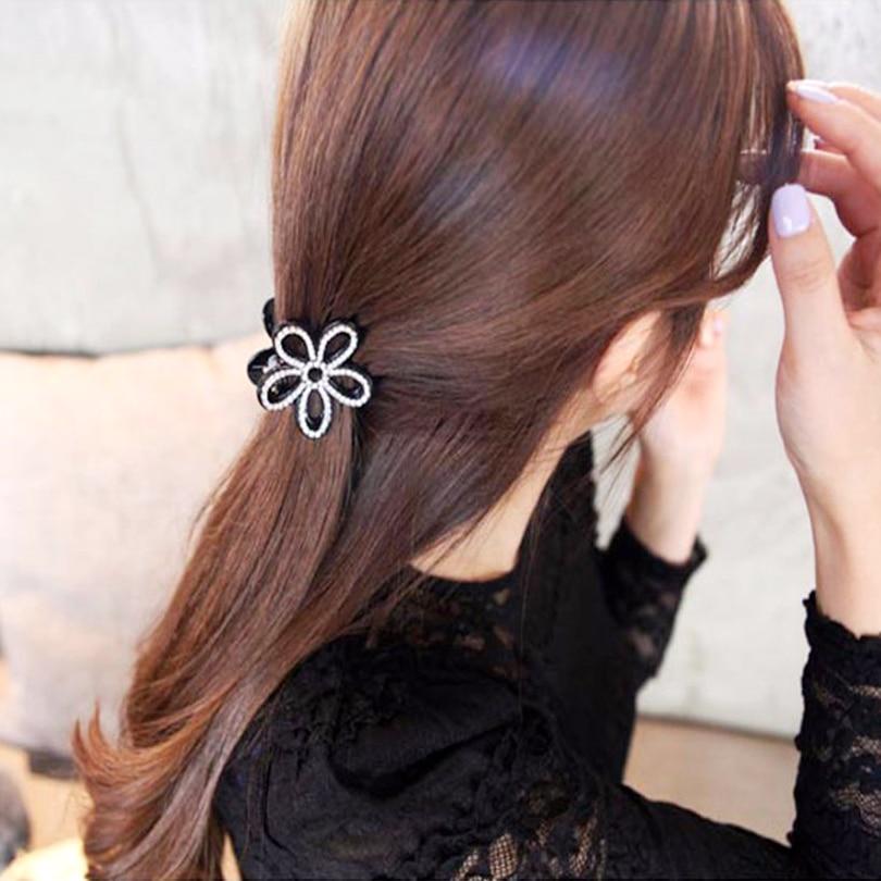 3 5 Black Flower Hair Clip With Flower Center: Small Hair Claw Flower Hairpins Womens Hair Accessories